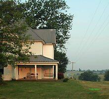 Farm house, with sunrise. by Linda Jackson