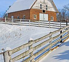 Snowy Brick Barn by Kenneth Keifer