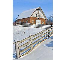 Snowy Brick Barn Photographic Print