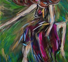 Colorful Dancing Woman Portrait,Abstract Dancer Art  by ShiningEyeArts
