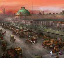 City - Boston Mass - Morning at the farmers market - 1904 by Mike  Savad