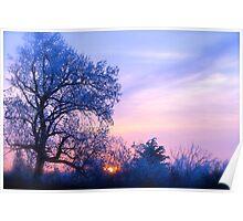 Winter Sunset, Brannon Mt. NW Arkansas, USA Poster