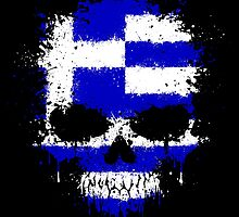 Chaotic Greek Flag Splatter Skull by Jeff Bartels