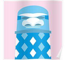 Tiki - White on Blue Poster
