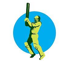 Cricket Player Batsman Batting Circle Retro by patrimonio