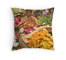Fruit Boat at Floating Market Throw Pillow