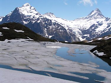 Bachalpensee with Fieschornen in the background, May 2004 by Laurie Puglia