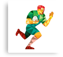 Rugby Player Fend Off Low Polygon Canvas Print