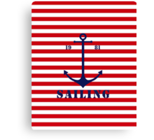 Captain anchor on thin red navy stripes marine style  Canvas Print