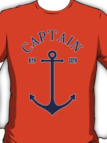 Captain anchor on thin red navy stripes marine style  T-Shirt