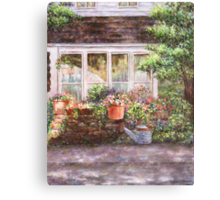 Flower Pots and a Flower Barrel Canvas Print