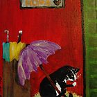 Home Cat and Umbrellas by REINA.L. RESTO