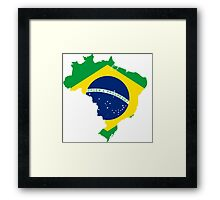 Brazil Flag Map Framed Print