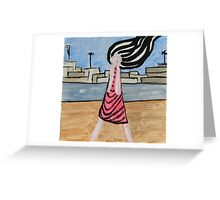 Screaming Girl Painting, Abstract Girl Portrait  Greeting Card