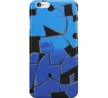 Light & Dark Blue Abstract Art, Organic Shapes  iPhone Case/Skin
