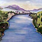 The Jordan River (Artist Interpretation for Baptismal Mural) by Karen L Ramsey