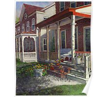 Porch with Pots of Pansies Poster