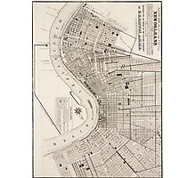 New Orleans Vintage Map Photographic Print