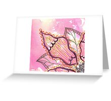 pink and gold watercolor flower Greeting Card
