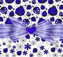 Fancy Blue Ladybugs and Flowers by purplesensation
