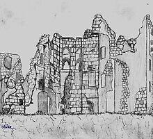 Pencil Sketch of Old Wardour Castle, England - all products by Dennis Melling