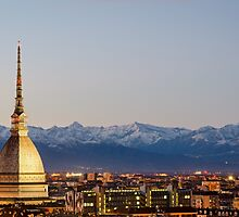 Turin (Torino), Mole Antonelliana and Alps by MarcoSaracco