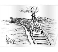 Fantastic Train Black Poster