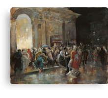 Arriving At The Theatre On A Night Of A Masqued Ball Oil On Panel  Painting Photograph Canvas Print