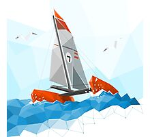 Low poly catamaran Photographic Print