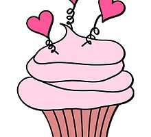 Cute Pink and White Hearts Cupcake Pattern by HavenDesign