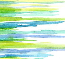 Gren an blue watercolor strips by Nicolaiivanovic