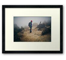 NEPAL:TRAVELLER IN THE FOG Framed Print