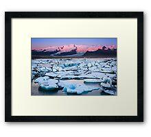 ICELAND:SUNRISE AT THE GLACIER LAGOON Framed Print