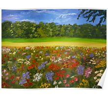 Wildflower field, home decor, wall art, impressionism Poster