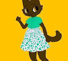 the brown cat in pink by artbyabby
