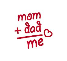 Mom + Dad me heart Photographic Print