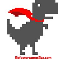Refactorsaurus Rex Logo + Red Text Photographic Print