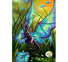 We Ride at Dawn - Mouse Warrior Riding Fairy Dragon Photographic Print