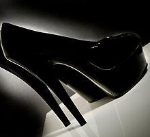Sexy Black Patent leather Stiletto shoes photographed film noir style by Linda Matlow
