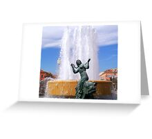 Magnificent fountain and statue Greeting Card