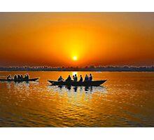 Sunrise on Ganges river, Varanasi, India Photographic Print