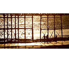 Sunset under Worthing Pier Photographic Print