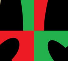 BLACK BEAR ON RED & GREEN Sticker