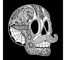 Mustache Sugar Skull (Black & White) Photographic Print