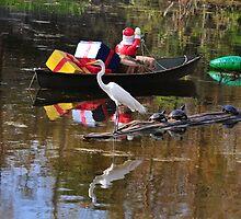 A Great Egret Supervises Cajun Christmas by Golden Richard