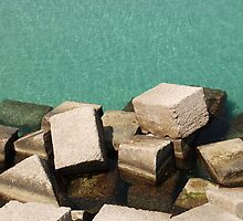 Concrete Blocks by Sea  by jojobob