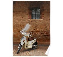 White Scooter Against Brick Wall  Poster