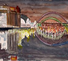 Gateshead Quays and the Tyne Bridges by night by GEORGE SANDERSON