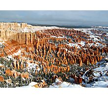 Snow on Bryce Amphitheater Photographic Print