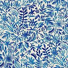Floating Garden - a watercolor pattern in blue by micklyn